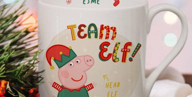 Personalised Peppa Pig™ Team Elf Balmoral Mug