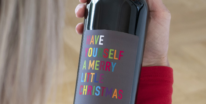 personalised merry little xmas red wine