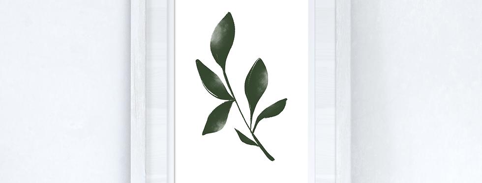 Green Watercolour Leaf 3 Bedroom Home Wall Decor Print