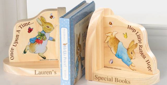 Peter Rabbit Wooden Book Ends