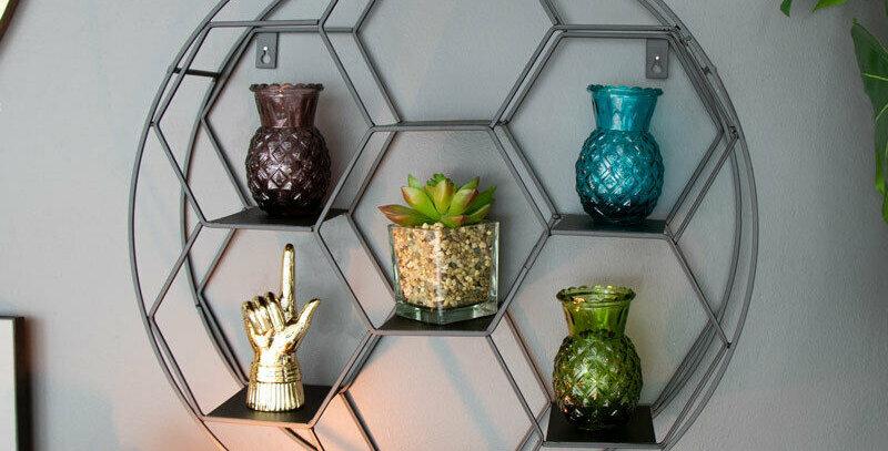 Hexagon Cut Wall Shelf