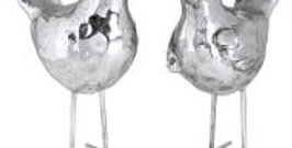 Pair of Silver Birdie Ornaments