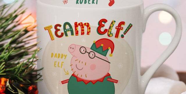 Personalised Peppa Pig™ Team Elf Daddy Pig Balmoral Mug