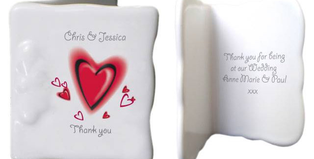 Red Hearts Bone China Message Card