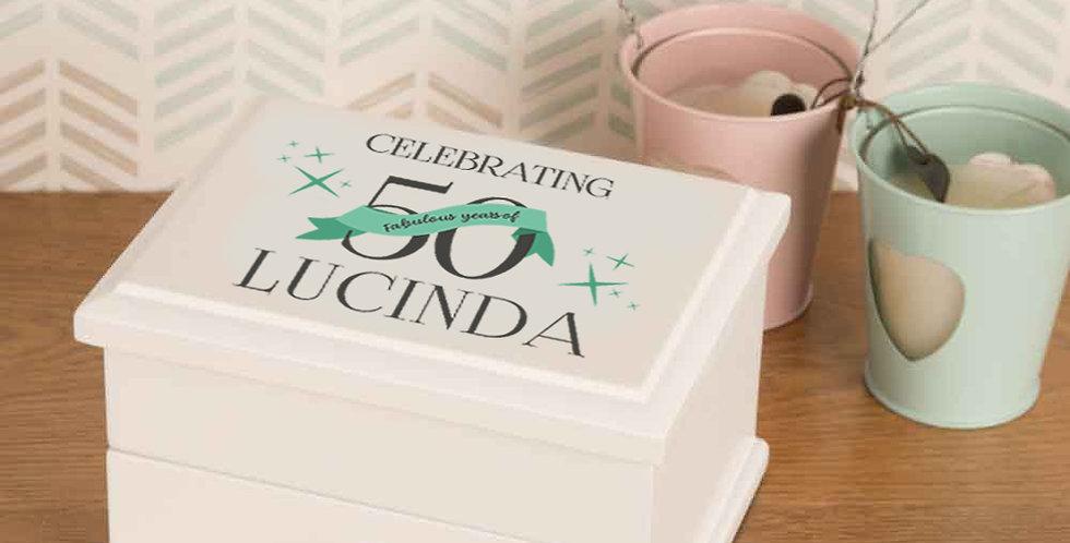 50th Birthday Personalised White Jewellery Box