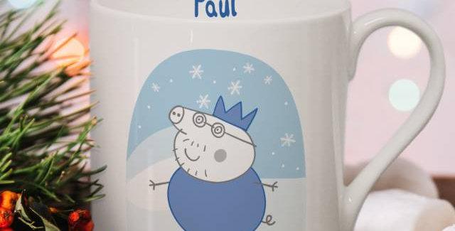 Personalised Peppa Pig™ Daddy Pig Snowglobe Large Balmoral Mug