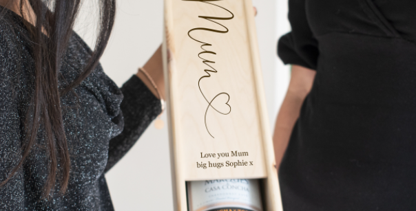 mum wooden wine box