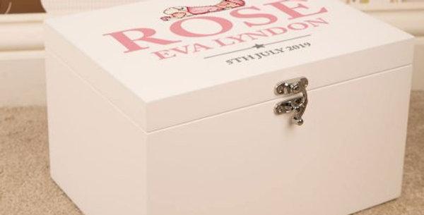 Baby Girl Design Personalised White Keepsake Box