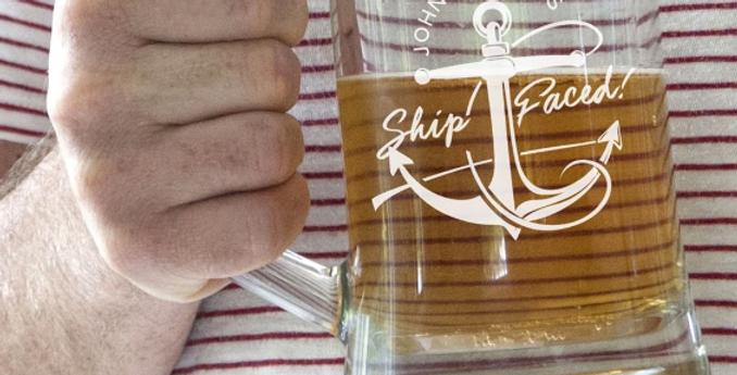 Ship Faced Glass Tankard
