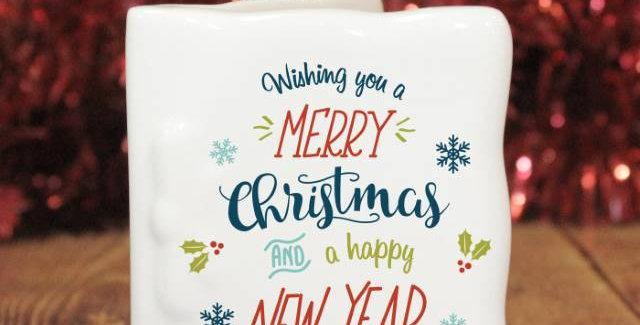 personalised merry christmas ceramic card