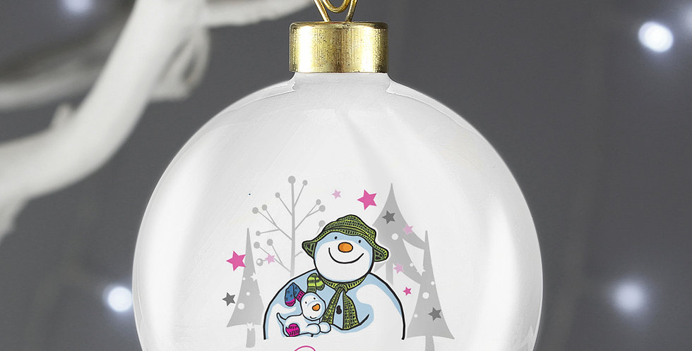 the snowman snowdog bauble pink
