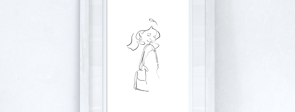 Line Work Woman Happy Simple Home Bedroom Dressing Room Wall Decor Print