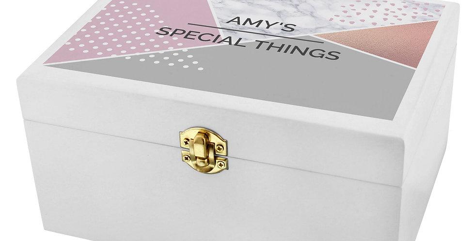 Personalised Geometric White Wooden Keepsake Box