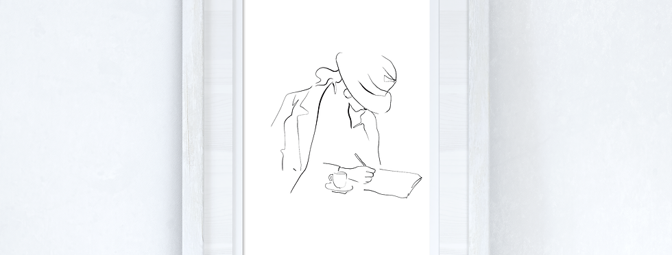 Line Work Woman Cafe Simple Home Bedroom Dressing Room Wall Decor Print