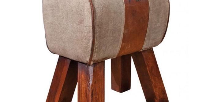 wood leather stool
