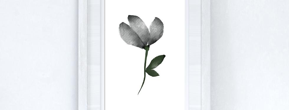 Grey Black Green Watercolour Flower 2 Bedroom Home Wall Decor Print