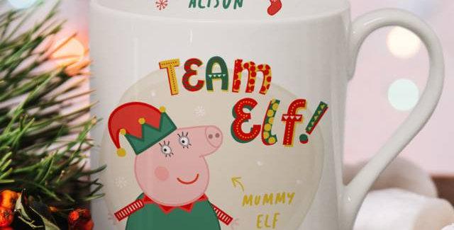 Personalised Peppa Pig™ Team Elf Mummy Pig Balmoral Mug