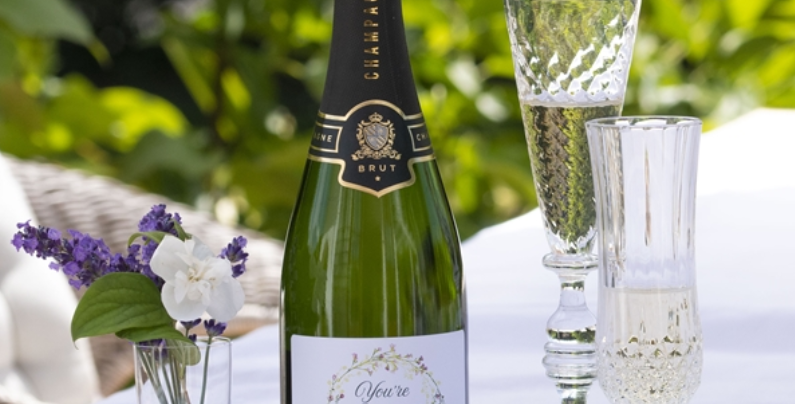 personalised engagement champagne