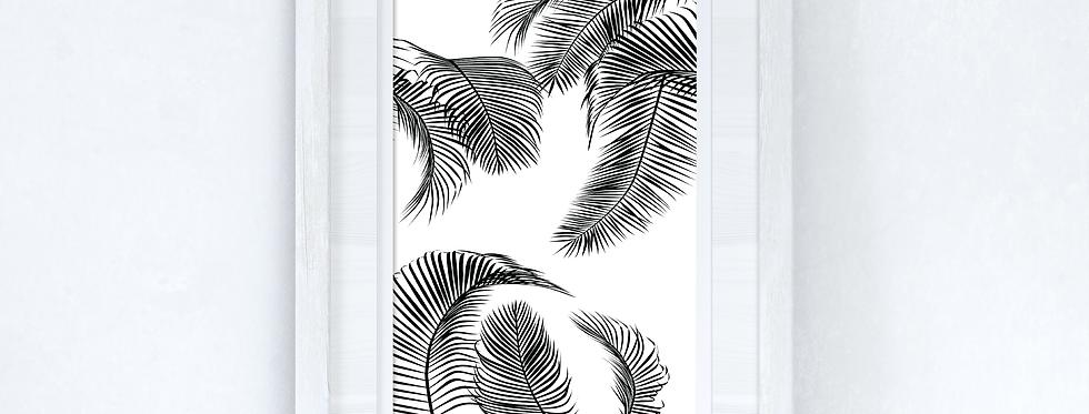 Palm Leaves Black 2 Home Simple Home Wall Decor Print