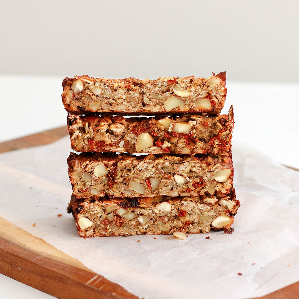 Almond and Goji Berry Oat Bars stacked