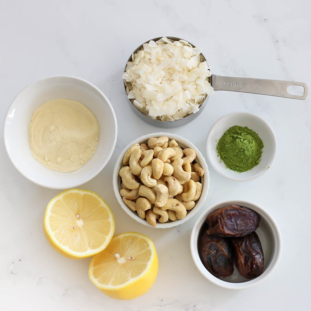 Matcha Protein Balls Ingredients Flat Lay