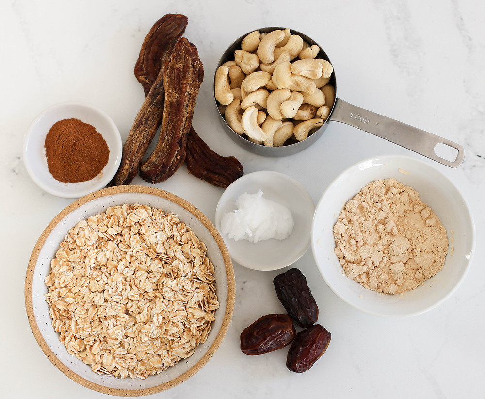 Ingredient flat lay for banana bread bars