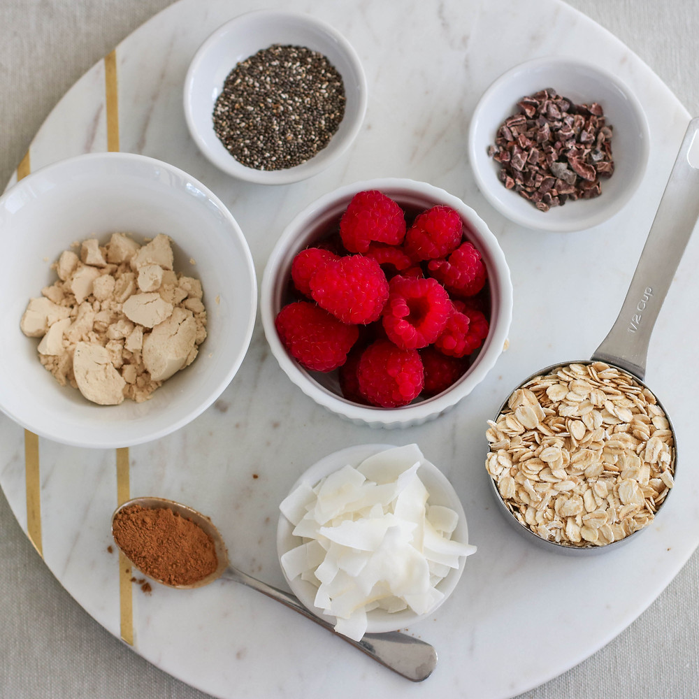 Flat lay of overnight oats recipe ingredients