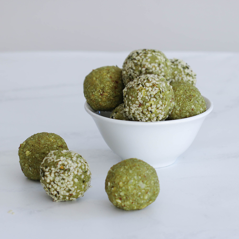 Matcha Protein Balls in a bowl