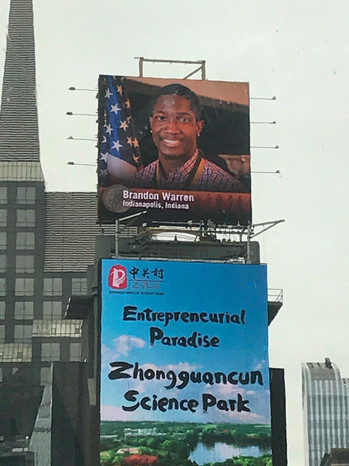 Brandon's Face Displayed in Times Square