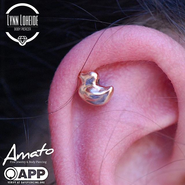Fresh helix piercing with an adorable _s