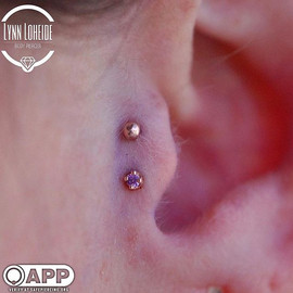 Fresh double tragus with some _bodygems magic #appmember #safepiercing #piercer #pierced #