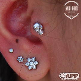 Fresh tragus with a white gold skull from _bvla #appmember #safepiercing #piercings #coral