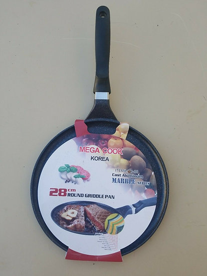 MEGA COOK Marble ROUND GRIDDLE PAN- CHAO LAM COM CHAY VA BEEF STEAK