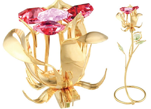 GOLD PLATED ROSE BUD S-SHAPED STAND