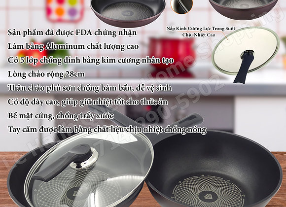 Diamond Coating Pan 3-Piece Set -Chao Kim Cuong 3 Mieng - Chảo Kim Cương 3 Miếng