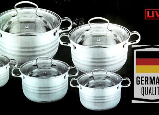 10 Pieces Germany Cookware Set - Bộ Nồi 10 Miếng