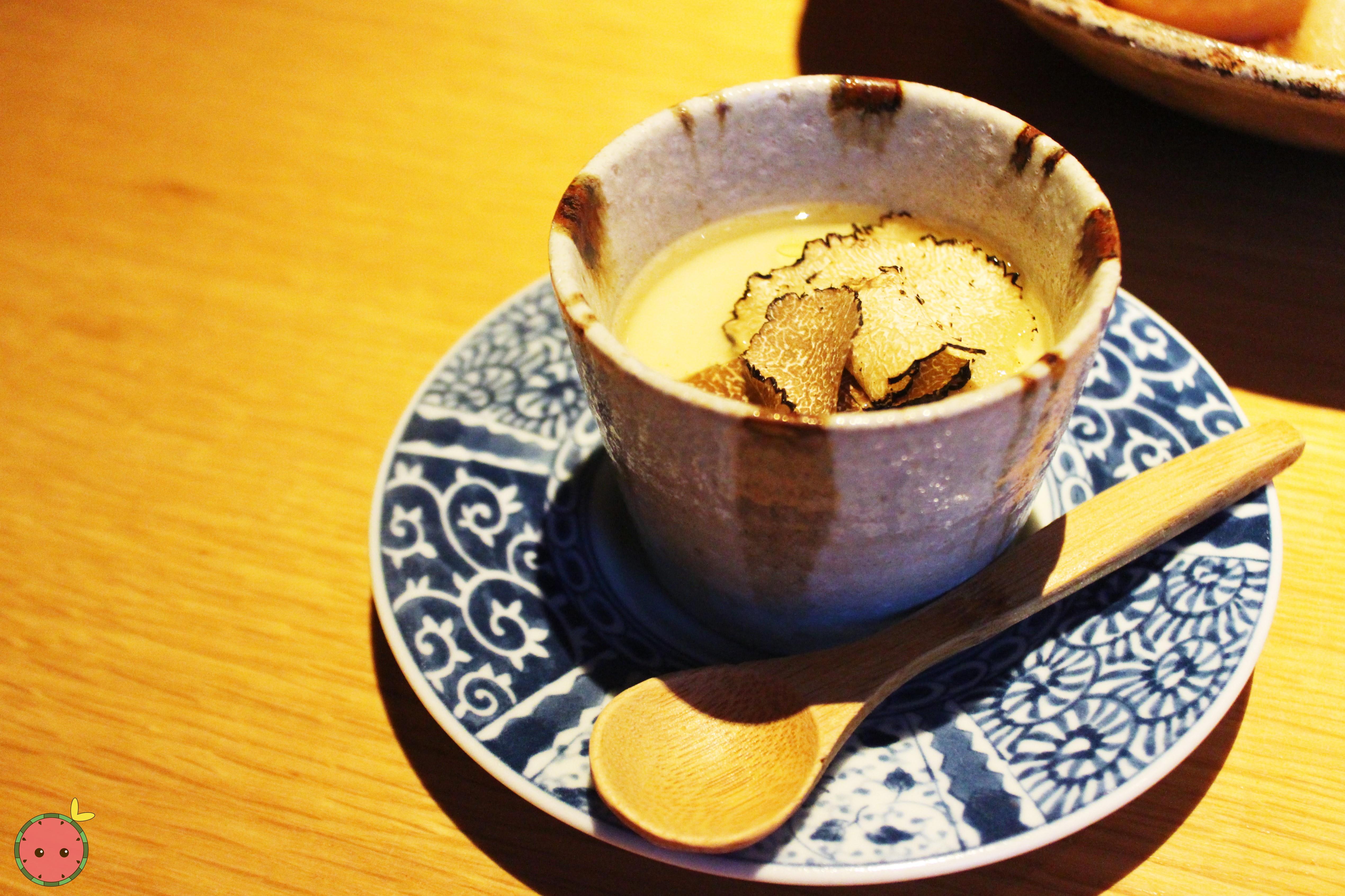 Black truffle chawanmushi with shaved black truffles
