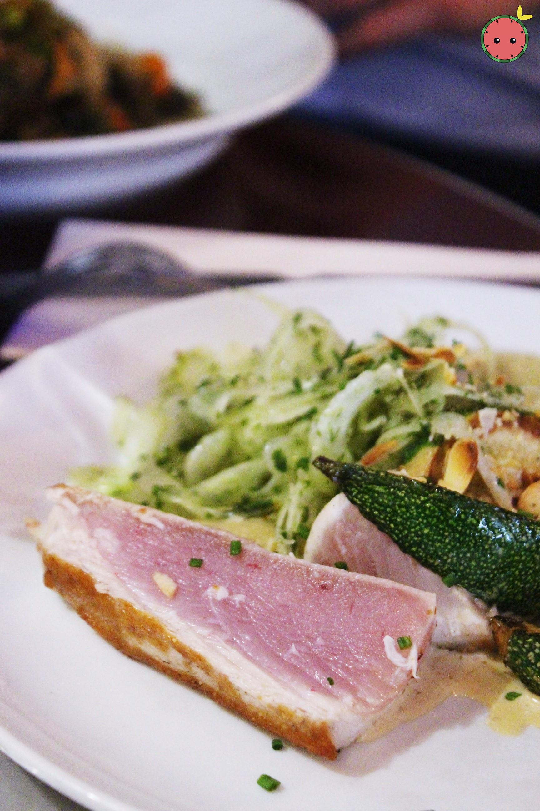 White Tuna, Puree Fennel Confit, Grilled Zucchini, Crispy Salad with Lemon & Roasted Almonds 2