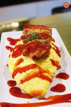 Omurice - Fluffy omelet with tomato sauce-seasoned pork rice with katsu and melted cheese