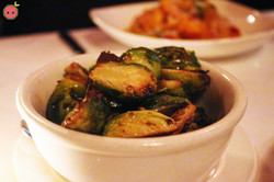 Brussels sprouts roasted in whole grain mustard