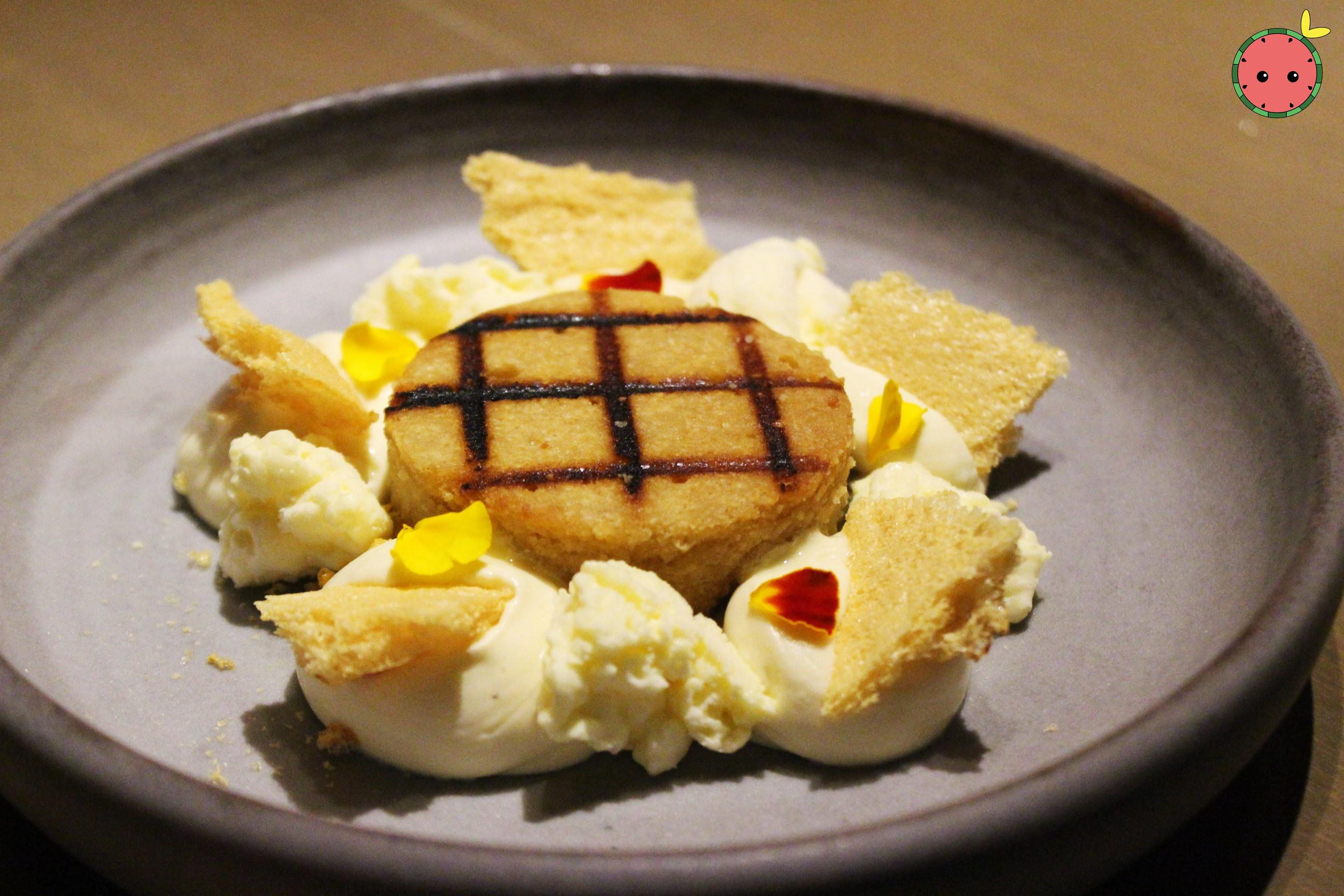 Passion Fruit - Grilled Financier, Jasmine Mascarpone, HoneyComb