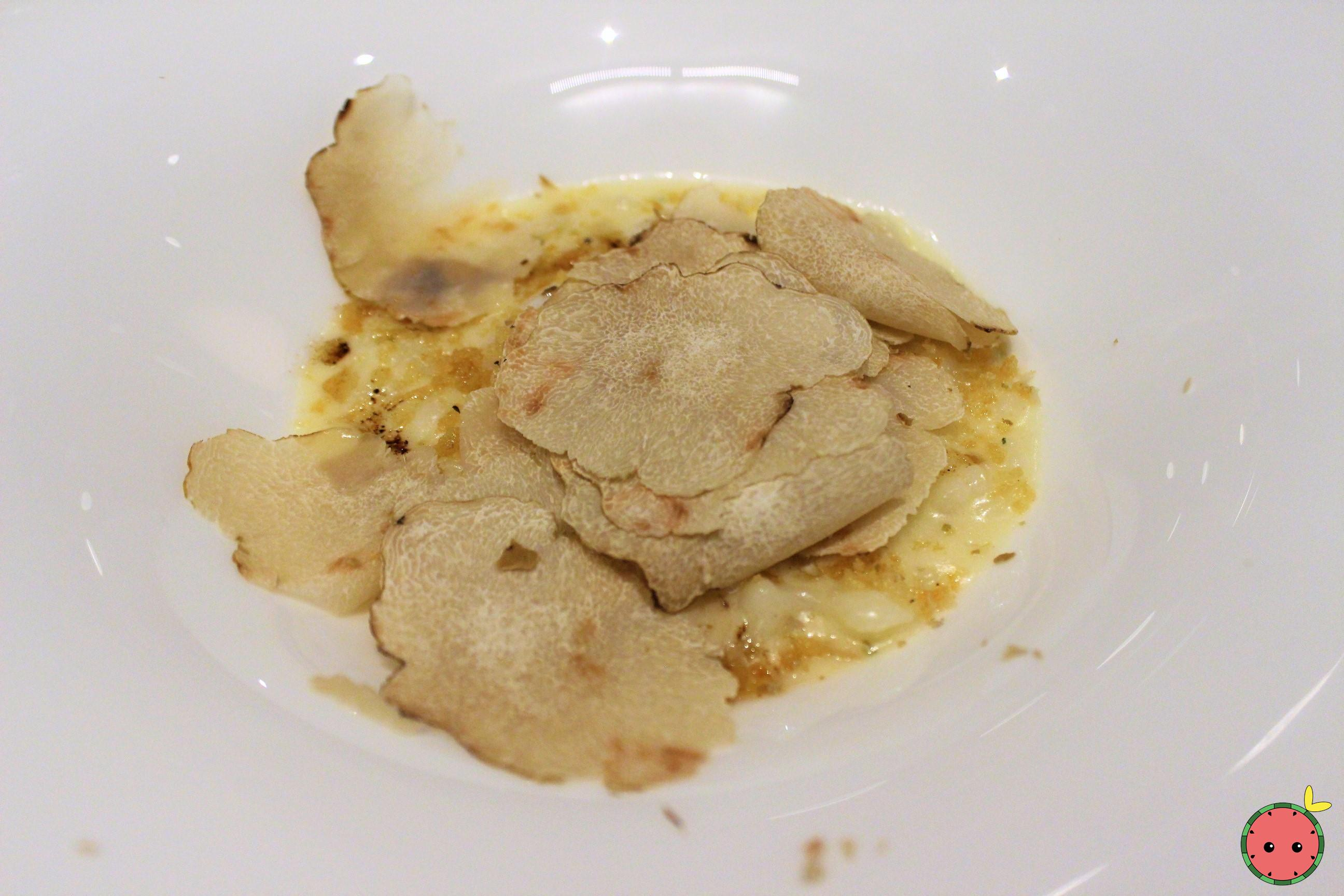 White Truffle Shaved Over Spaetzle with Slow Poached Farm Egg and Parmesan Breadcrumb