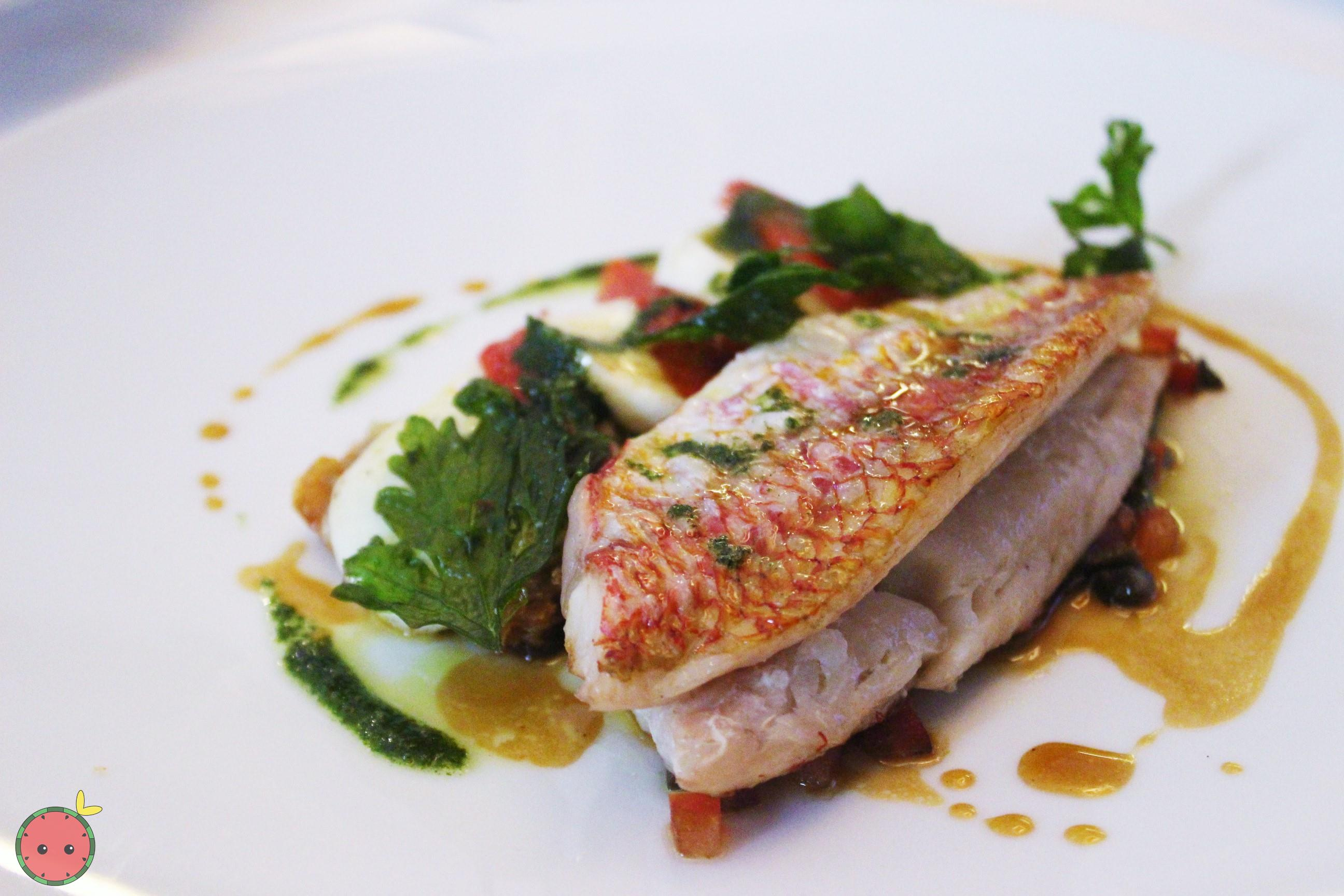 Red mullet with crisp tart of confit tomatoes and mozzarella