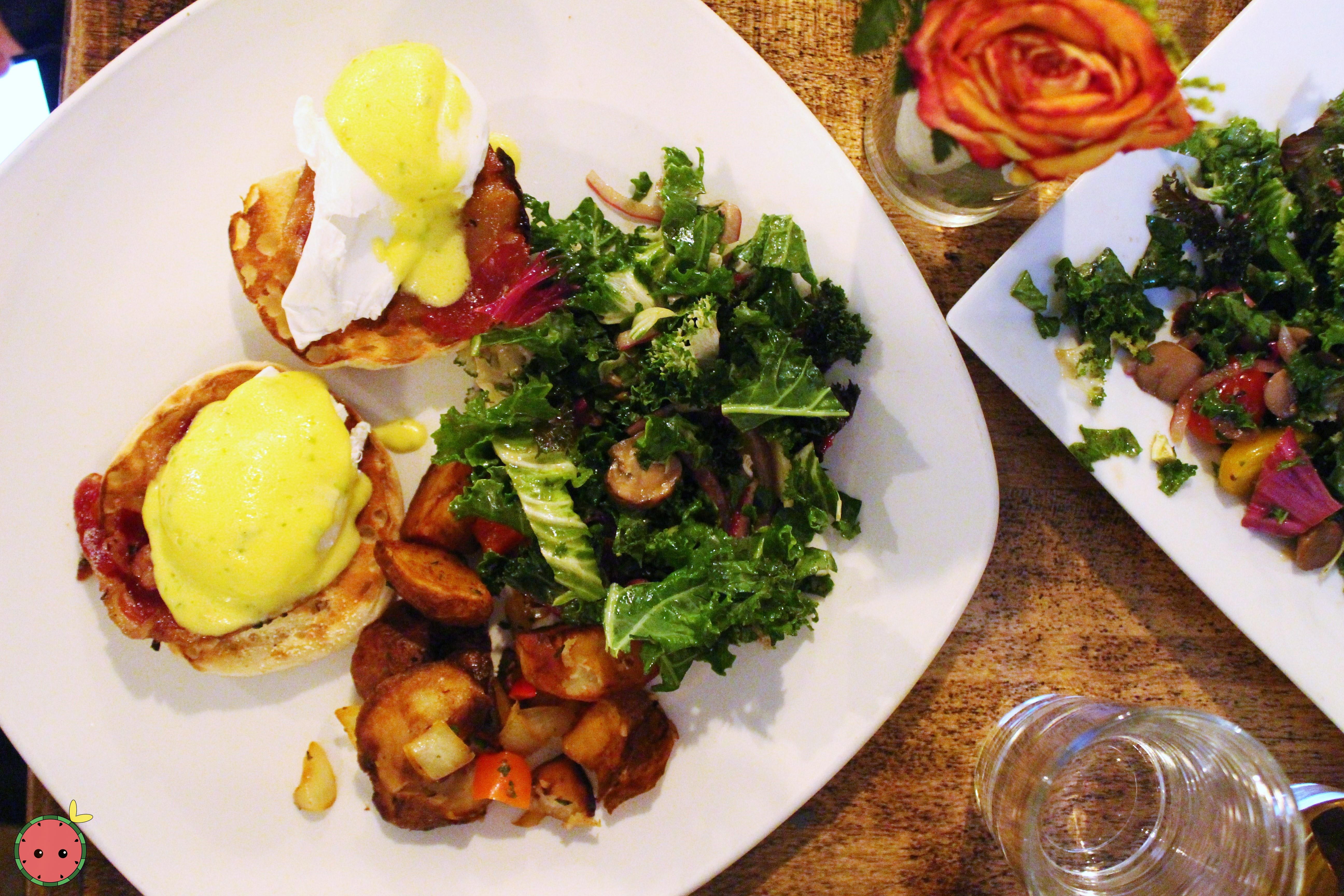 Whitman Benedict - Poached eggs, pancette, spicy cilantro hollandaise, English muffin