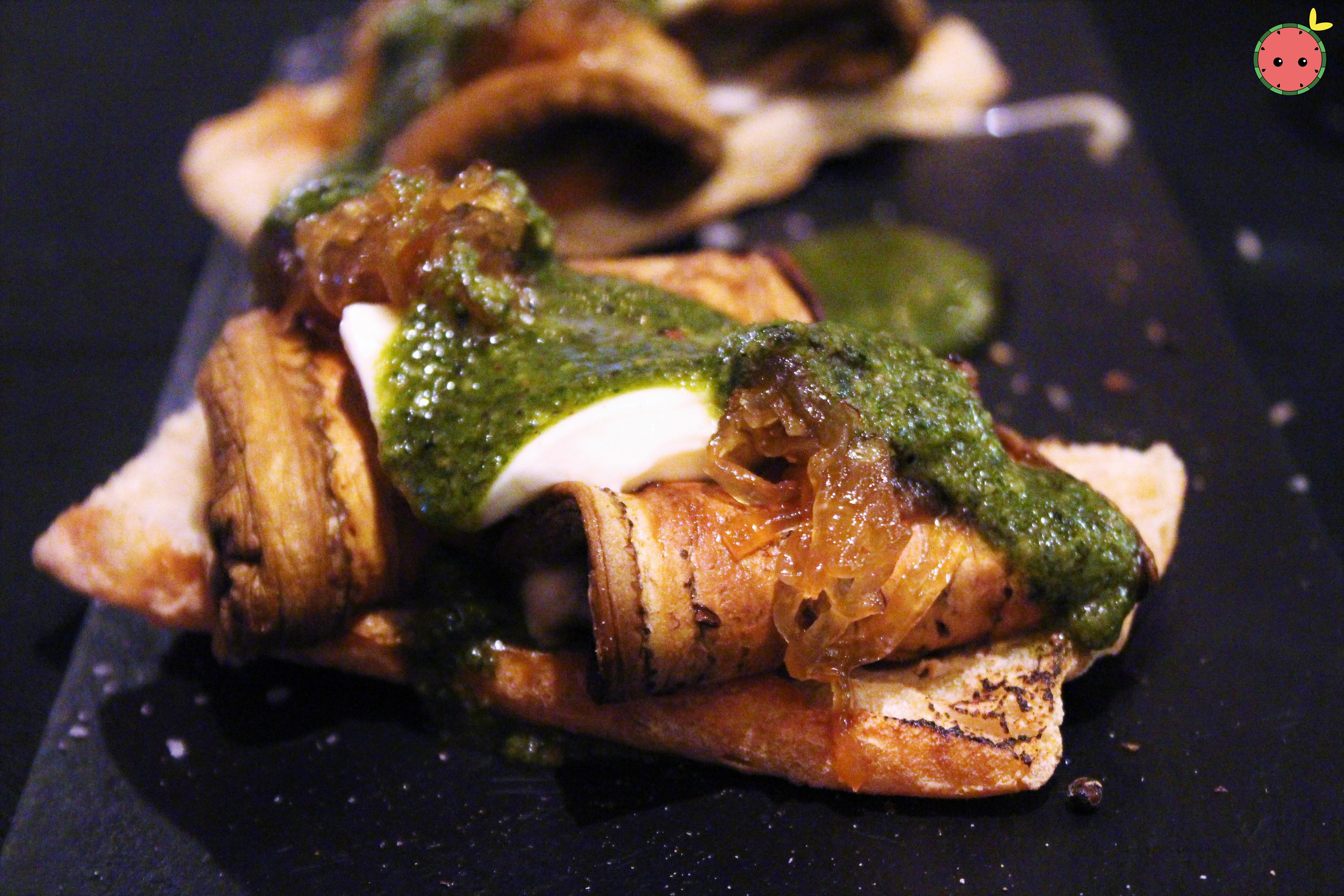 Grilled Aubergine, Mozzarella, and Caramelized Onions with Basil Vinaigrette