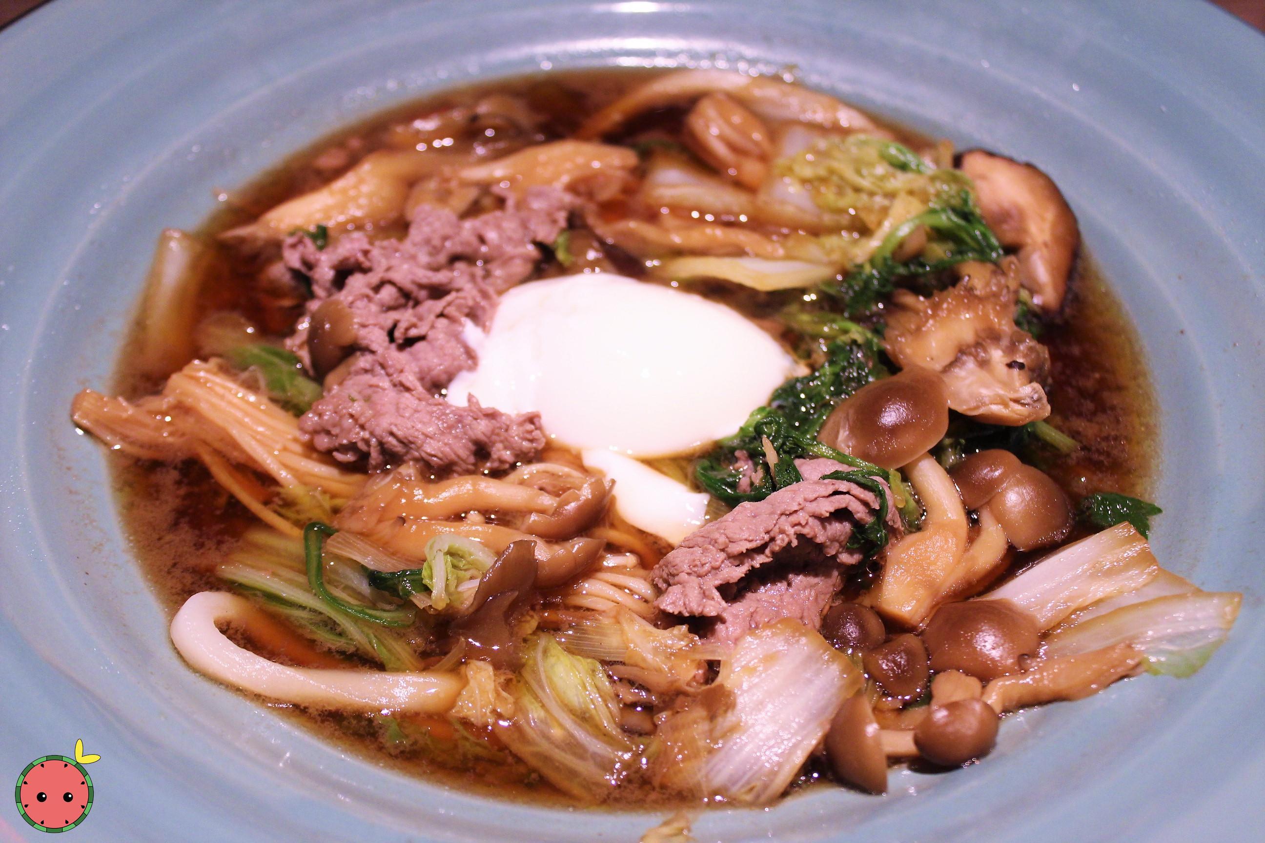 US Wagyu and Mushroom Sukiyaki - Wagyu Beef, shimeji, oyster, and enoki mushroom, & vegetables in sw