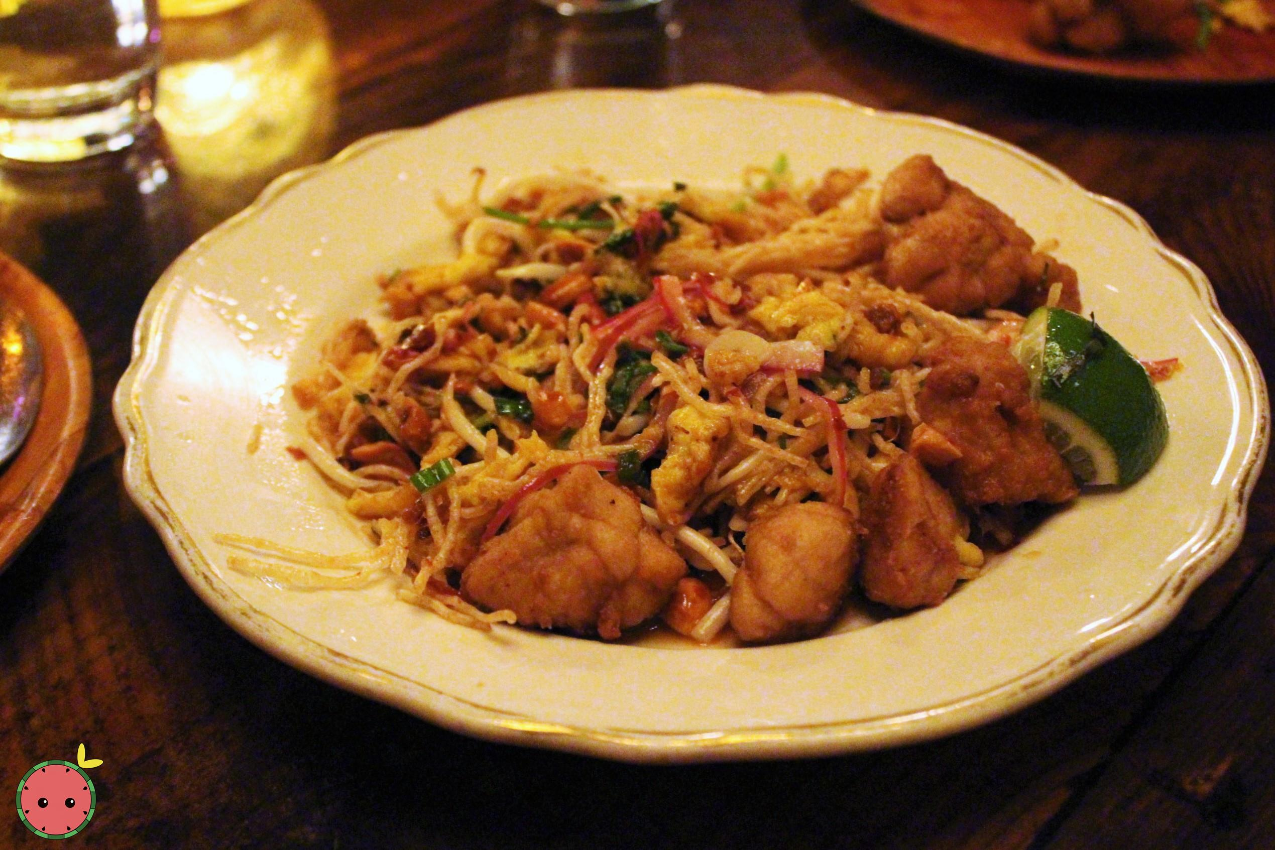 Mee Krob - Sweetbreads with crispy noodle salad, peanuts, dried shrimp, egg, sawtooth herb, and tama