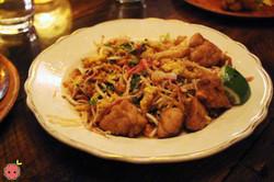 Mee Krob - Sweetbreads with crispy noodle salad, peanuts, dried shrimp, egg, sawtooth herb, and tama