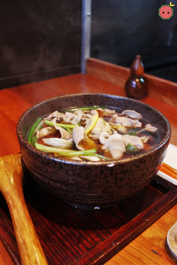 Stamina Dip Soba - Homemade soba with sliced pork, minced pork, homemade chicken meatball, burdock,