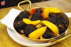 Black Sausage with Eggplant Confit